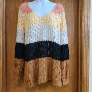 AEO American Eagle Striped Crochet Knit Sweater M